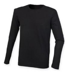 NRG MENS LONG SLEEVED STRETCH T-SHIRT WITH EMBROIDERED LOGO